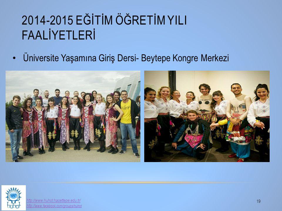 2014-2015 EĞİTİM ÖĞRETİM YILI FAALİYETLERİ 19 http://www.huhot.hacettepe.edu.tr/ http:// www.facebook.com/groups/huhot Üniversite Yaşamına Giriş Dersi