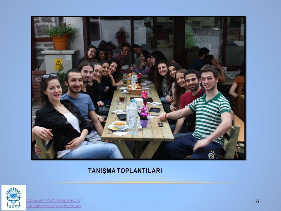 TANIŞMA TOPLANTILARI 29 http://www.huhot.hacettepe.edu.tr/ http:// www.facebook.com/groups/huhot