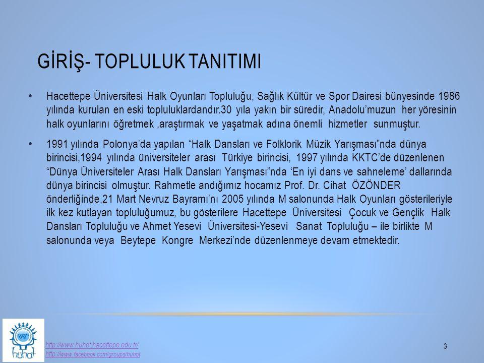 GİRİŞ- TOPLULUK TANITIMI 3 Hacettepe Üniversitesi Halk Oyunları Topluluğu, Sağlık Kültür ve Spor Dairesi bünyesinde 1986 yılında kurulan en eski toplu