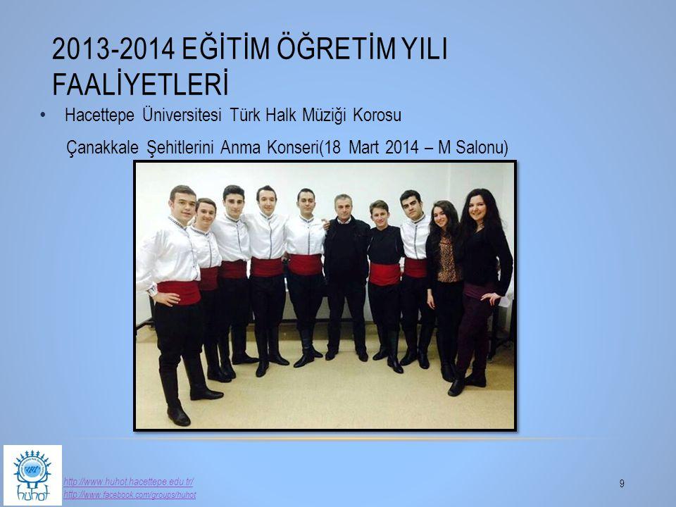 Hacettepe Üniversitesi Türk Halk Müziği Korosu Çanakkale Şehitlerini Anma Konseri(18 Mart 2014 – M Salonu) 2013-2014 EĞİTİM ÖĞRETİM YILI FAALİYETLERİ
