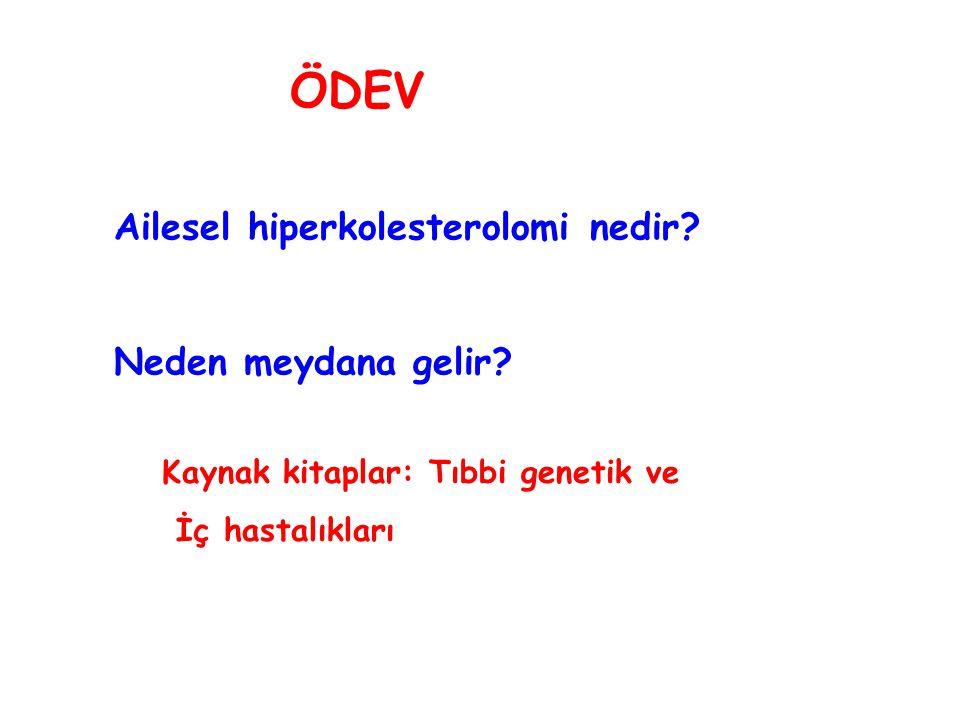 ÖDEV Ailesel hiperkolesterolomi nedir? Neden meydana gelir? Kaynak kitaplar: Tıbbi genetik ve İç hastalıkları