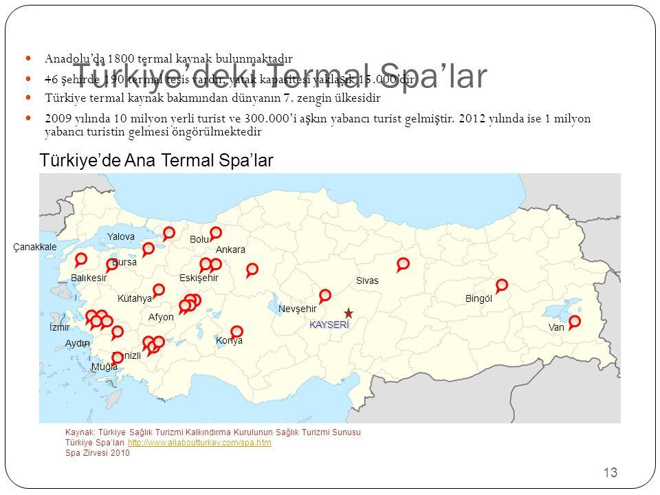 13 Türkiye'deki Termal Spa'lar Anadolu'da 1800 termal kaynak bulunmaktadır 46 ş ehirde 190 termal tesis vardır, yatak kapasitesi yakla ş ık 15.000'dir