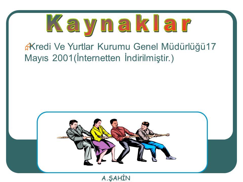 KKredi Ve Yurtlar Kurumu Genel Müdürlüğü17 Mayıs 2001(İnternetten İndirilmiştir.)