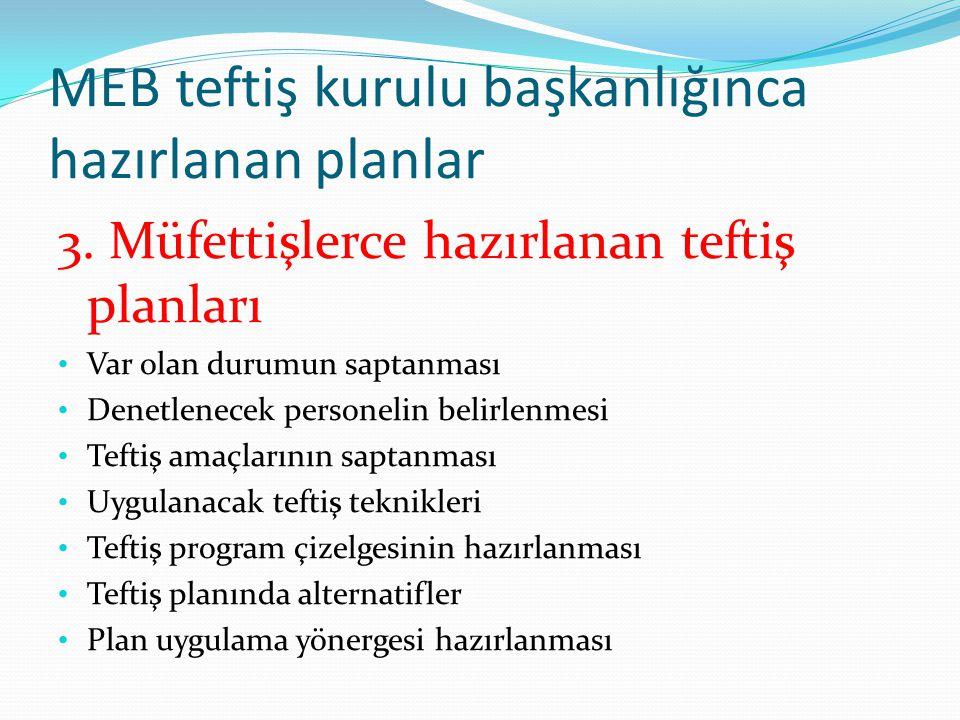 MEB teftiş kurulu başkanlığınca hazırlanan planlar 3.