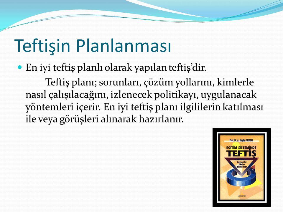 Teftişin Planlanması En iyi teftiş planlı olarak yapılan teftiş'dir.