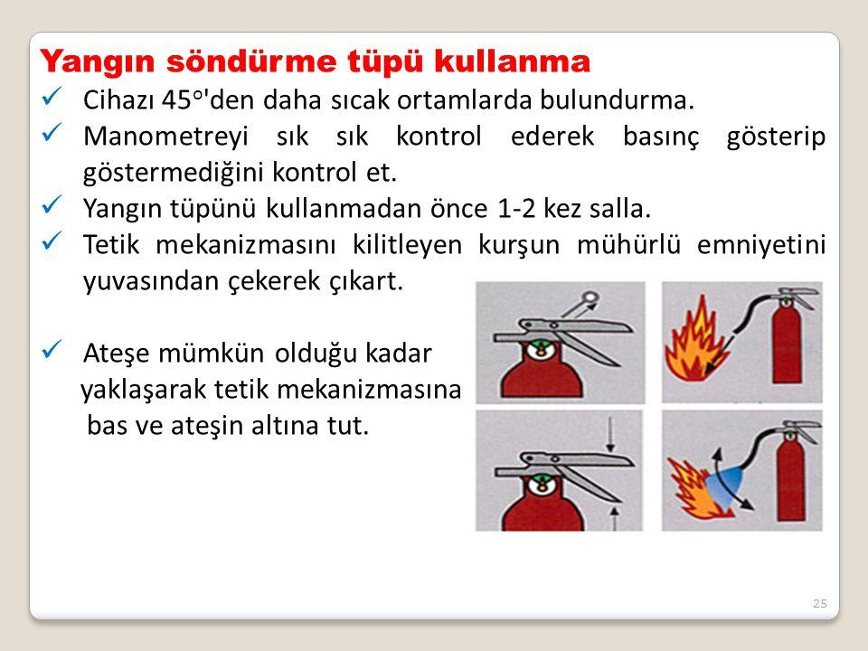 25 Yangın söndürme tüpü kullanma Cihazı 45 o 'den daha sıcak ortamlarda bulundurma. Manometreyi sık sık kontrol ederek basınç gösterip göstermediğini