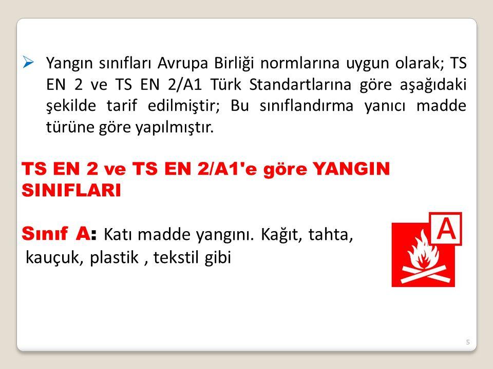 5  Yangın sınıfları Avrupa Birliği normlarına uygun olarak; TS EN 2 ve TS EN 2/A1 Türk Standartlarına göre aşağıdaki şekilde tarif edilmiştir; Bu sın