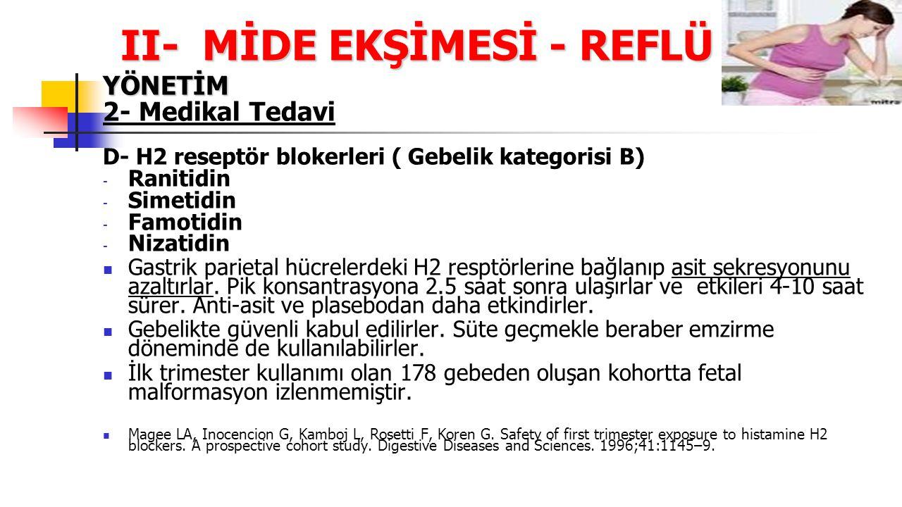 II- MİDE EKŞİMESİ - REFLÜ YÖNETİM 2- Medikal Tedavi D- H2 reseptör blokerleri ( Gebelik kategorisi B) - Ranitidin - Simetidin - Famotidin - Nizatidin