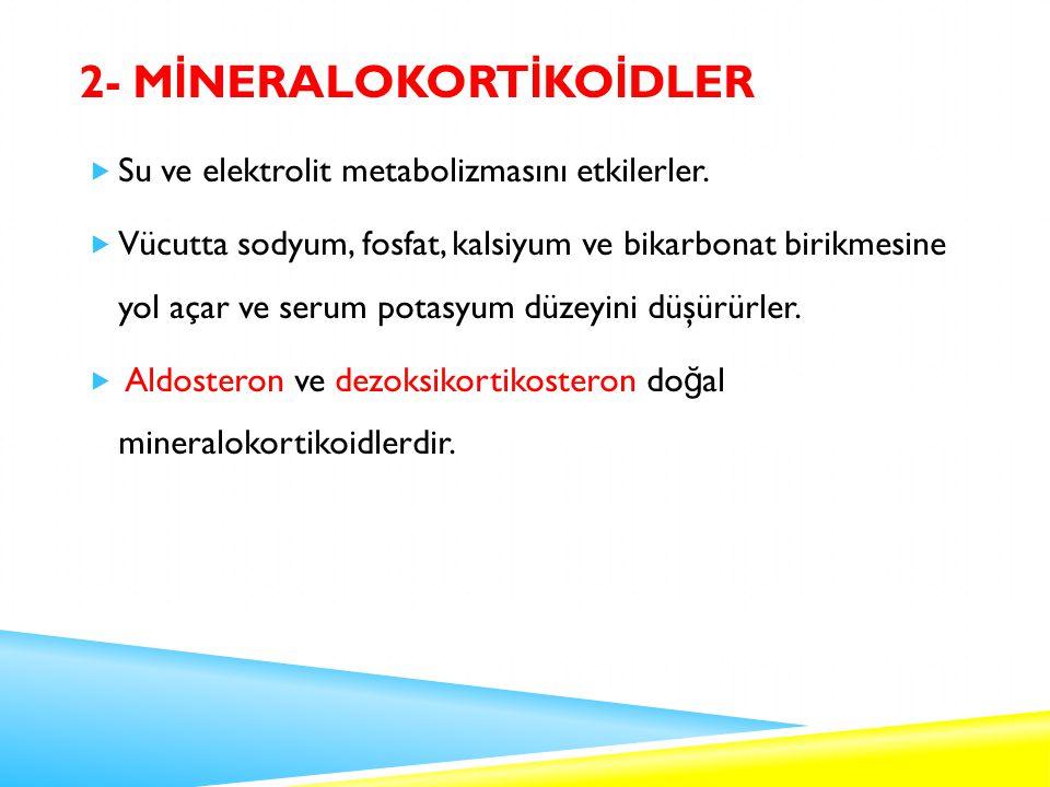 2- M İ NERALOKORT İ KO İ DLER  Su ve elektrolit metabolizmasını etkilerler.
