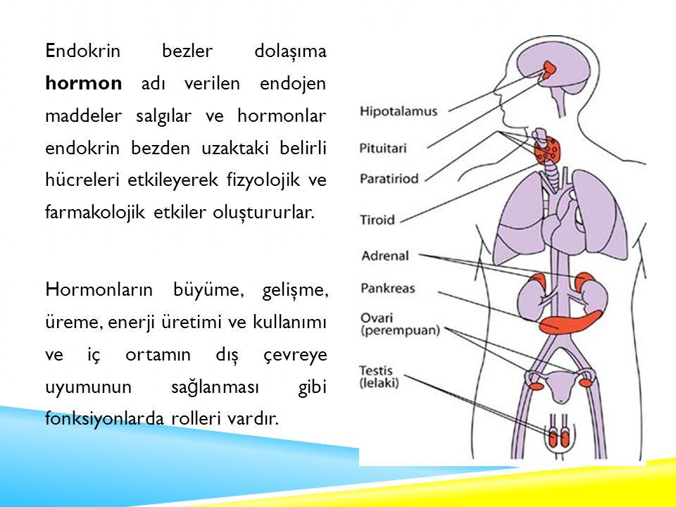 Endokrin bezler dolaşıma hormon adı verilen endojen maddeler salgılar ve hormonlar endokrin bezden uzaktaki belirli hücreleri etkileyerek fizyolojik ve farmakolojik etkiler oluştururlar.