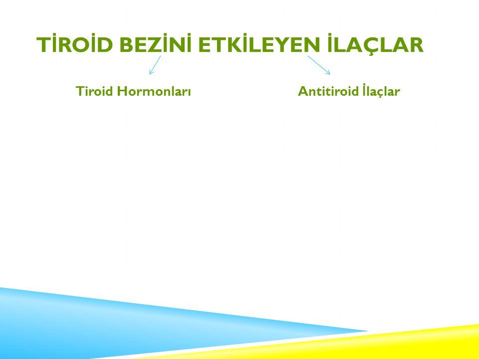 T İ RO İ D BEZ İ N İ ETK İ LEYEN İ LAÇLAR Tiroid HormonlarıAntitiroid İ laçlar