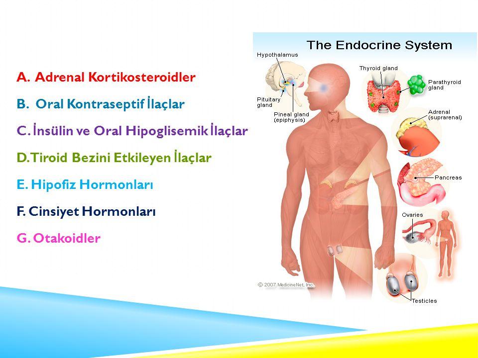A.Adrenal Kortikosteroidler B. Oral Kontraseptif İ laçlar C.