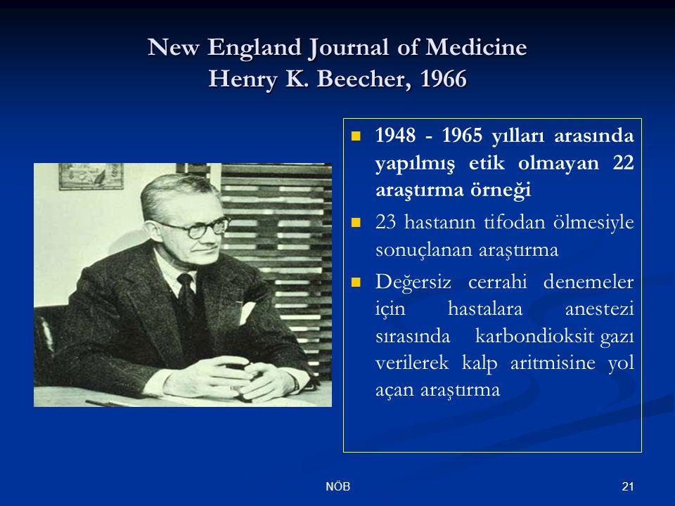 21NÖB 1948 - 1965 yılları arasında yapılmış etik olmayan 22 araştırma örneği 23 hastanın tifodan ölmesiyle sonuçlanan araştırma Değersiz cerrahi denem