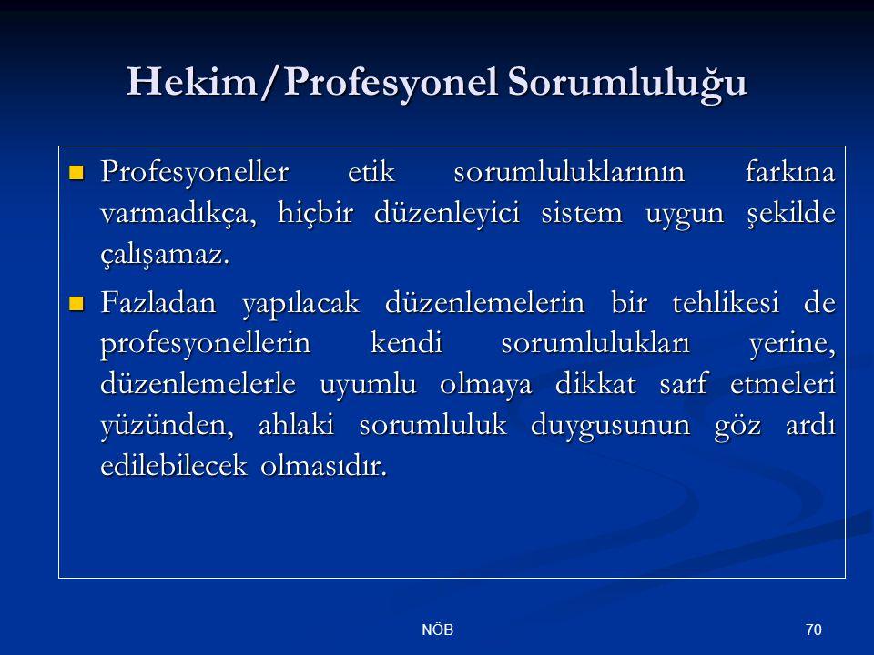 70NÖB Hekim/Profesyonel Sorumluluğu Profesyoneller etik sorumluluklarının farkına varmadıkça, hiçbir düzenleyici sistem uygun şekilde çalışamaz. Profe