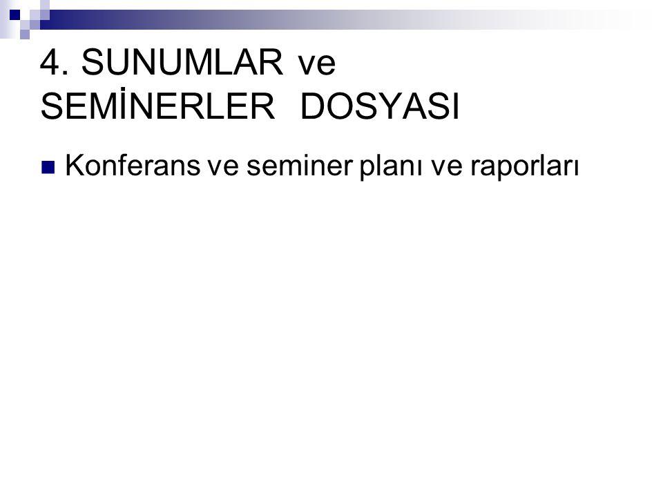 4. SUNUMLAR ve SEMİNERLER DOSYASI Konferans ve seminer planı ve raporları