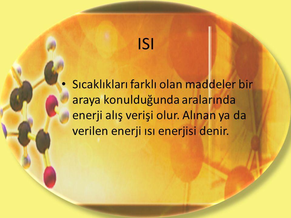 ISI Sıcaklıkları farklı olan maddeler bir araya konulduğunda aralarında enerji alış verişi olur. Alınan ya da verilen enerji ısı enerjisi denir.