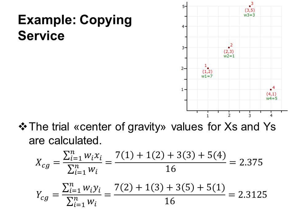 10-21 Example: Copying Service  The trial «center of gravity» values for Xs and Ys are calculated.