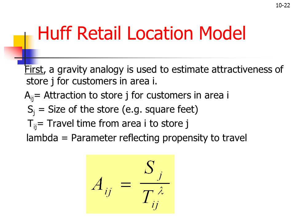 10-22 Huff Retail Location Model First, a gravity analogy is used to estimate attractiveness of store j for customers in area i. A ij = Attraction to