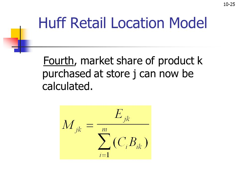 10-25 Huff Retail Location Model Fourth, market share of product k purchased at store j can now be calculated.