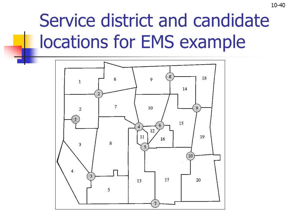 10-40 Service district and candidate locations for EMS example