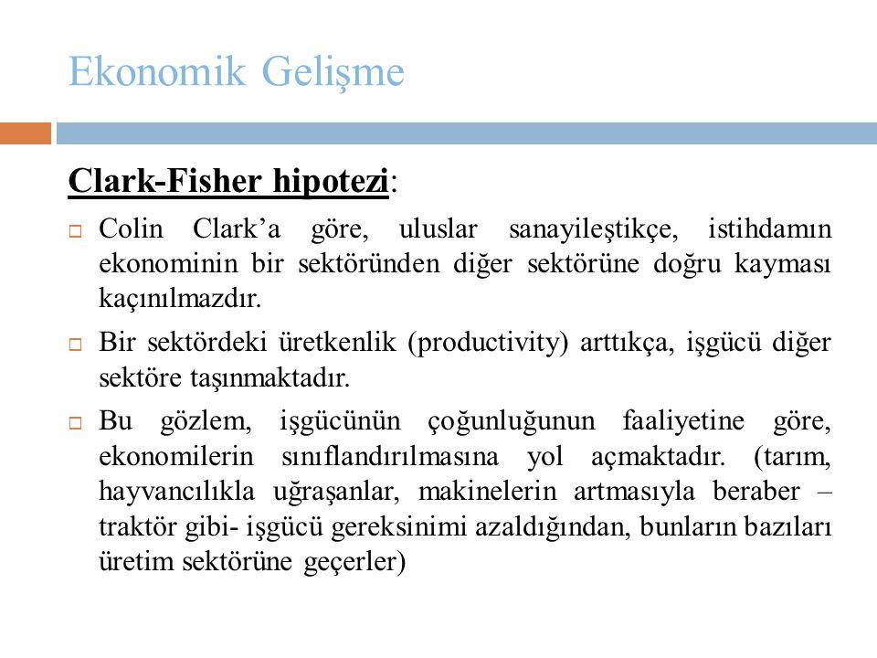 Ekonomik Gelişme Clark-Fisher hipotezi:  Colin Clark'a göre, uluslar sanayileştikçe, istihdamın ekonominin bir sektöründen diğer sektörüne doğru kaym