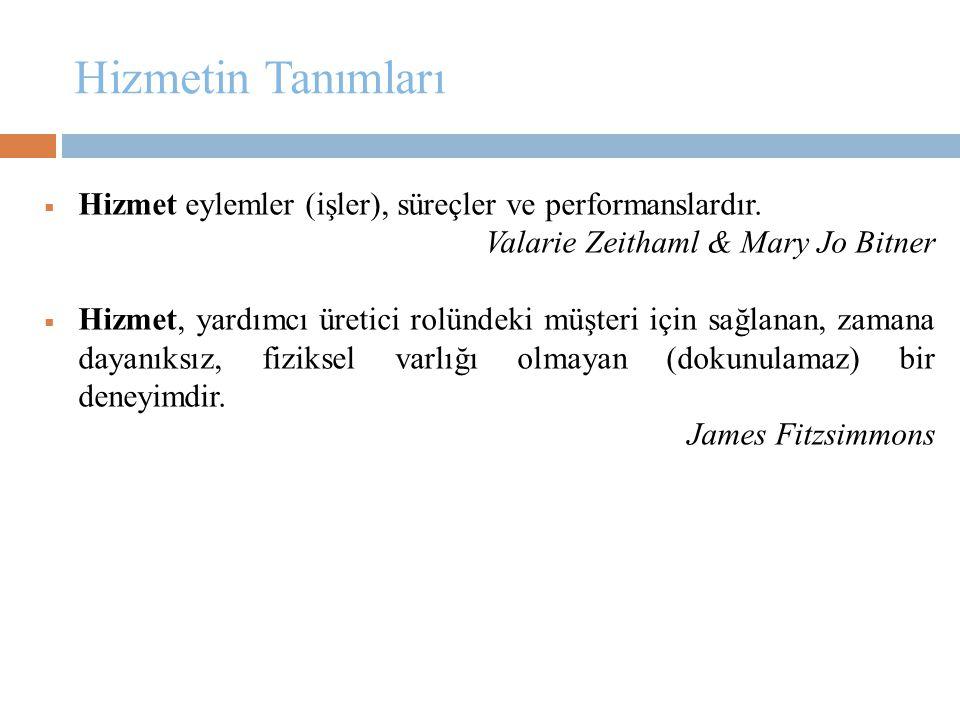 Hizmetin Tanımları  Hizmet eylemler (işler), süreçler ve performanslardır. Valarie Zeithaml & Mary Jo Bitner  Hizmet, yardımcı üretici rolündeki müş