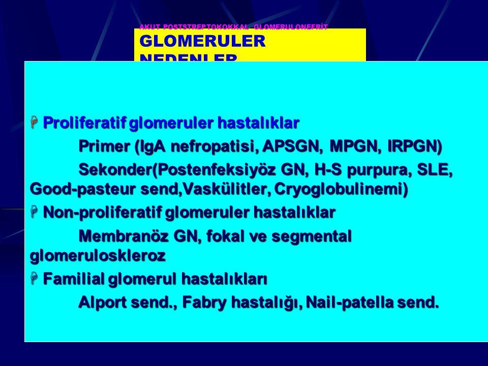 AKUT POSTSTREPTOKOKKAL GLOMERULONEFRİT GLOMERULER NEDENLER  Proliferatif glomeruler hastalıklar Primer (IgA nefropatisi, APSGN, MPGN, IRPGN) Sekonder