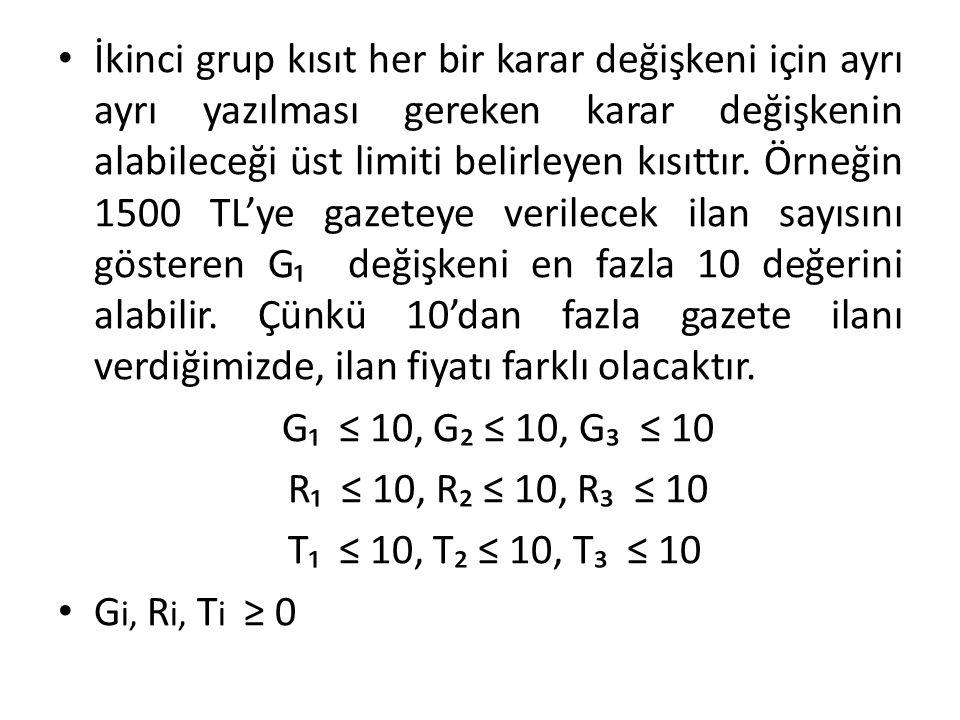 İkinci grup kısıt her bir karar değişkeni için ayrı ayrı yazılması gereken karar değişkenin alabileceği üst limiti belirleyen kısıttır. Örneğin 1500 T