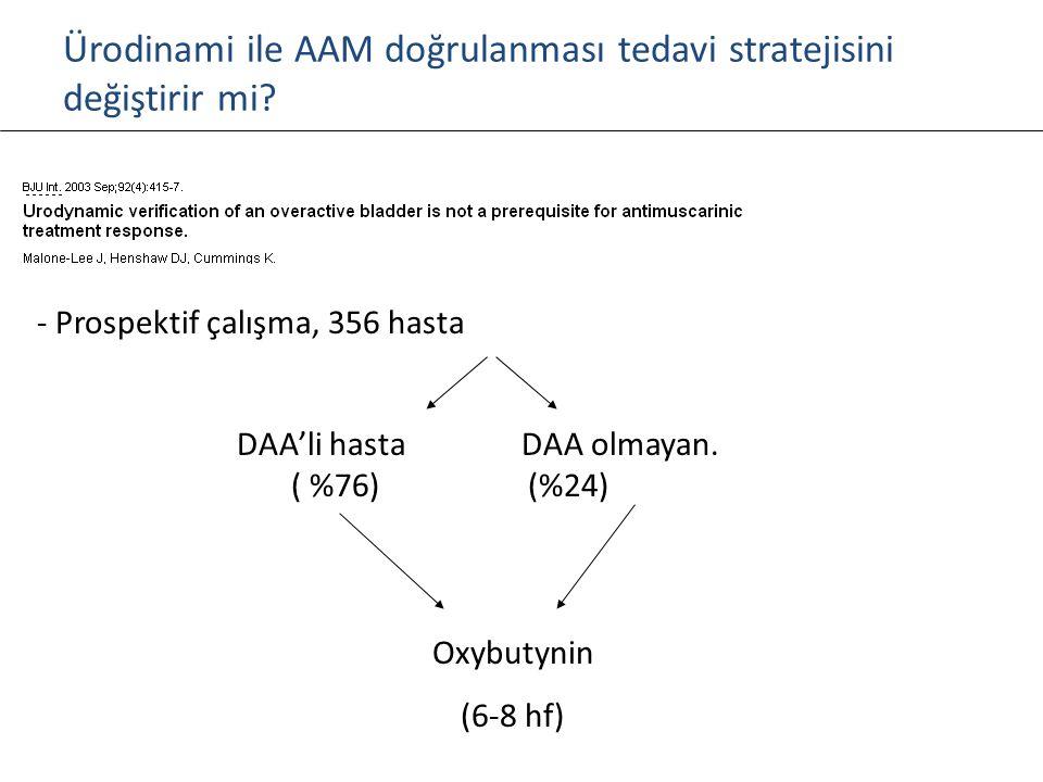 Ürodinami ile AAM doğrulanması tedavi stratejisini değiştirir mi? - Prospektif çalışma, 356 hasta DAA'li hasta DAA olmayan. ( %76) (%24) Oxybutynin (6