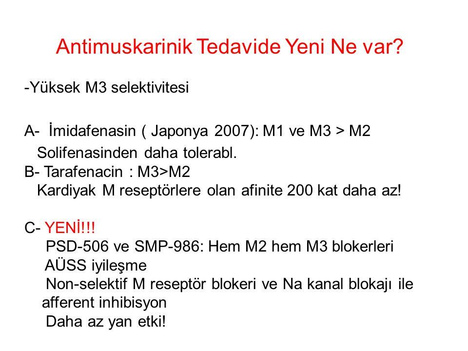 Antimuskarinik Tedavide Yeni Ne var? -Yüksek M3 selektivitesi A- İmidafenasin ( Japonya 2007): M1 ve M3 > M2 Solifenasinden daha tolerabl. B- Tarafena