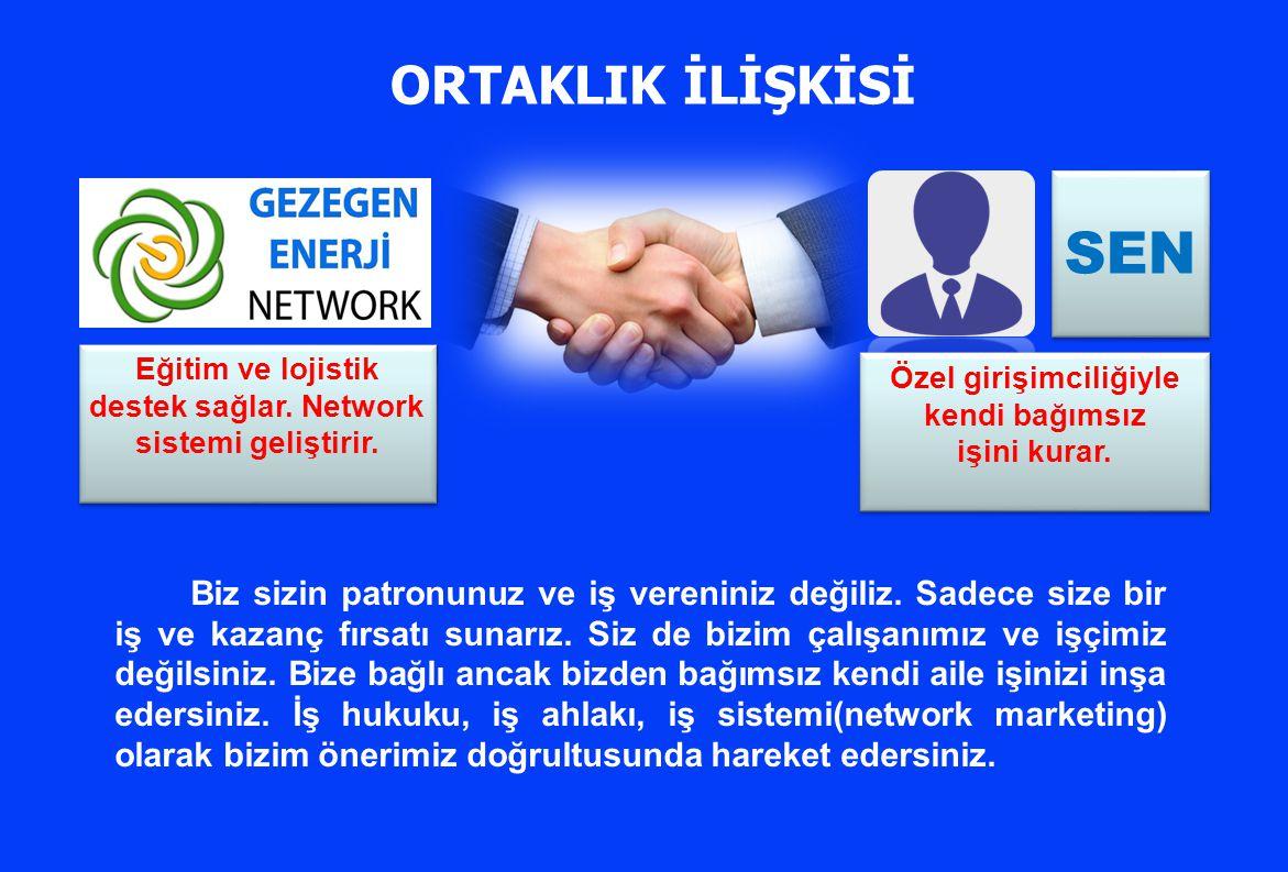 Eğitim ve lojistik destek sağlar. Network sistemi geliştirir. SEN Özel girişimciliğiyle kendi bağımsız işini kurar. Özel girişimciliğiyle kendi bağıms
