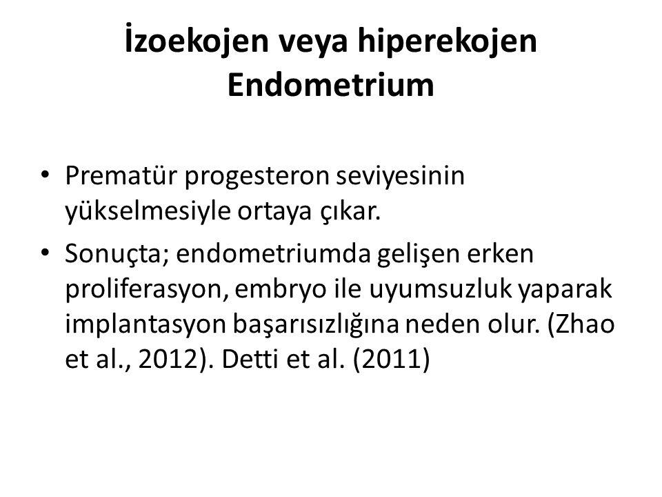 İzoekojen veya hiperekojen Endometrium Prematür progesteron seviyesinin yükselmesiyle ortaya çıkar. Sonuçta; endometriumda gelişen erken proliferasyon