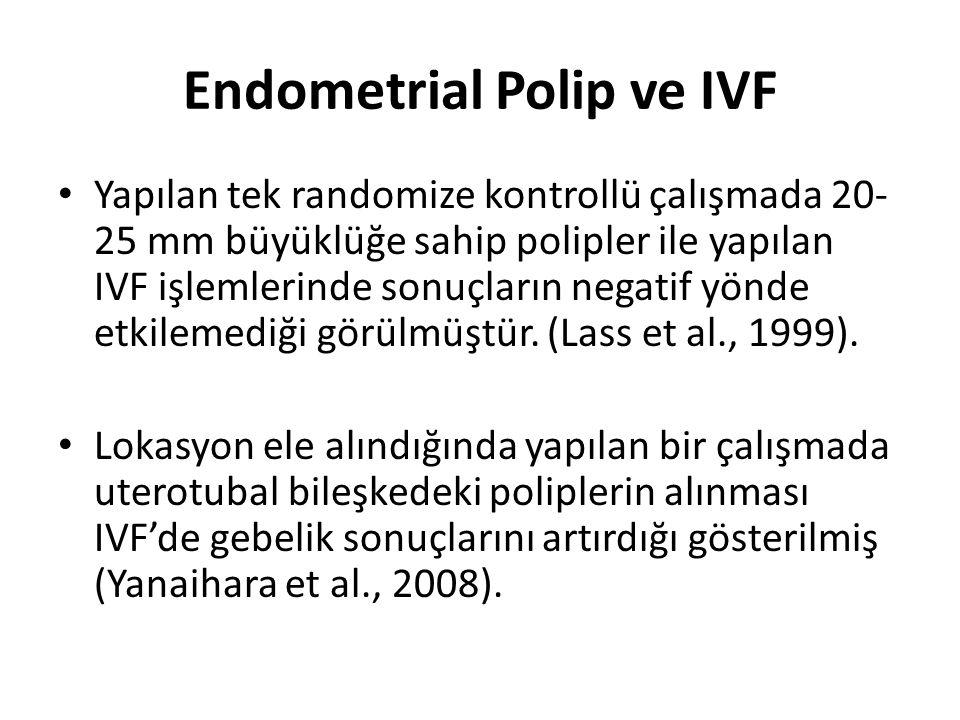 Endometrial Polip ve IVF Yapılan tek randomize kontrollü çalışmada 20- 25 mm büyüklüğe sahip polipler ile yapılan IVF işlemlerinde sonuçların negatif
