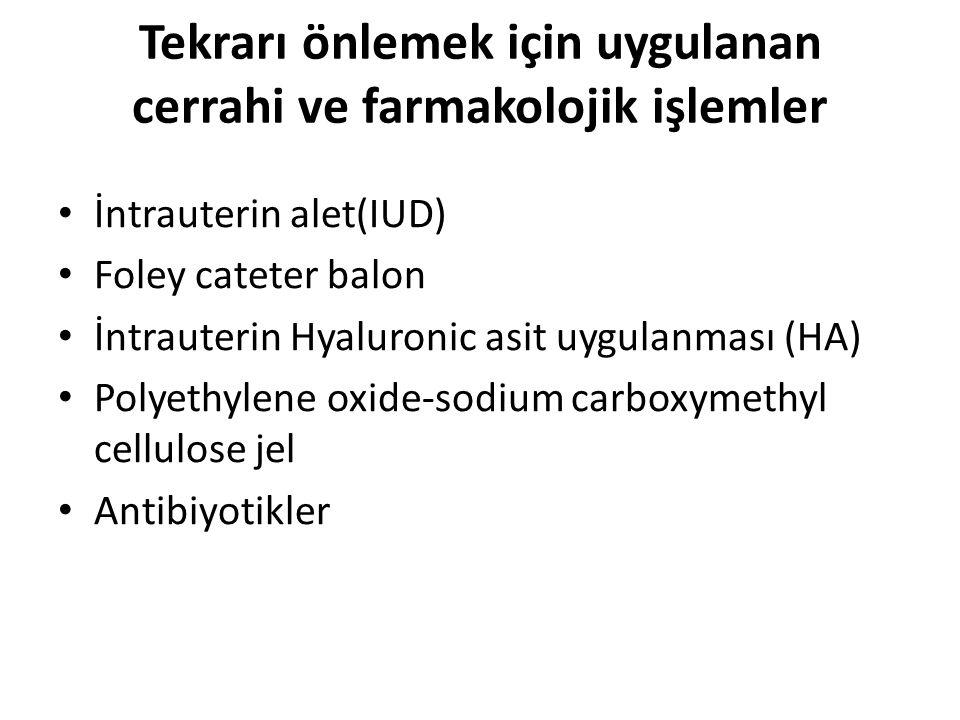 Tekrarı önlemek için uygulanan cerrahi ve farmakolojik işlemler İntrauterin alet(IUD) Foley cateter balon İntrauterin Hyaluronic asit uygulanması (HA) Polyethylene oxide-sodium carboxymethyl cellulose jel Antibiyotikler