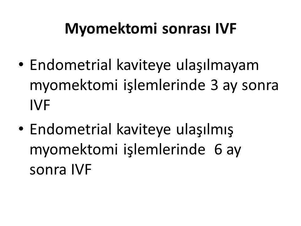 Myomektomi sonrası IVF Endometrial kaviteye ulaşılmayam myomektomi işlemlerinde 3 ay sonra IVF Endometrial kaviteye ulaşılmış myomektomi işlemlerinde
