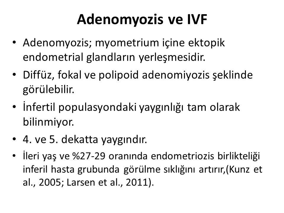 Adenomyozis ve IVF Adenomyozis; myometrium içine ektopik endometrial glandların yerleşmesidir. Diffüz, fokal ve polipoid adenomiyozis şeklinde görüleb