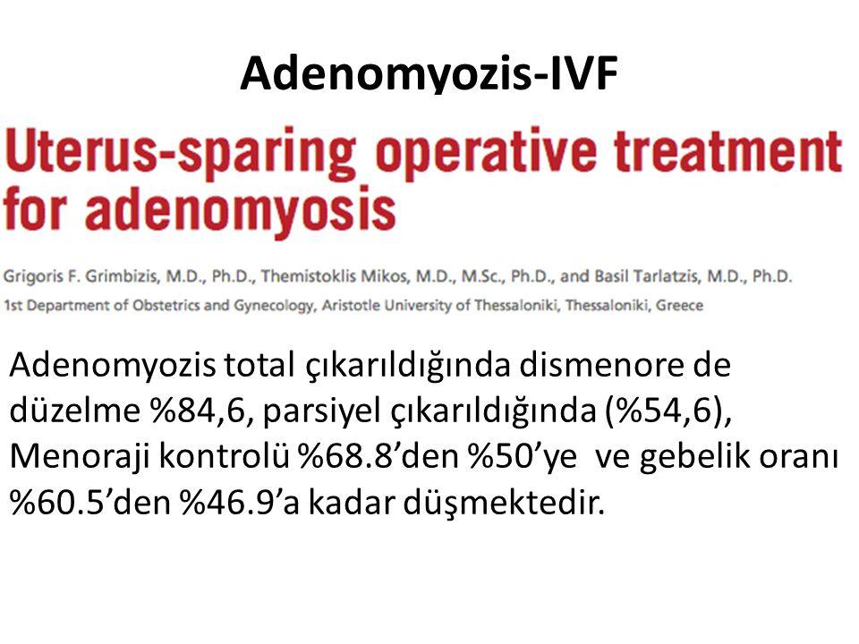 Adenomyozis-IVF Adenomyozis total çıkarıldığında dismenore de düzelme %84,6, parsiyel çıkarıldığında (%54,6), Menoraji kontrolü %68.8'den %50'ye ve ge