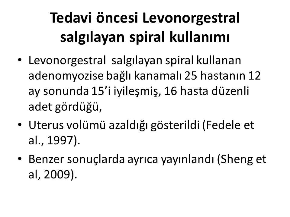 Tedavi öncesi Levonorgestral salgılayan spiral kullanımı Levonorgestral salgılayan spiral kullanan adenomyozise bağlı kanamalı 25 hastanın 12 ay sonunda 15'i iyileşmiş, 16 hasta düzenli adet gördüğü, Uterus volümü azaldığı gösterildi (Fedele et al., 1997).