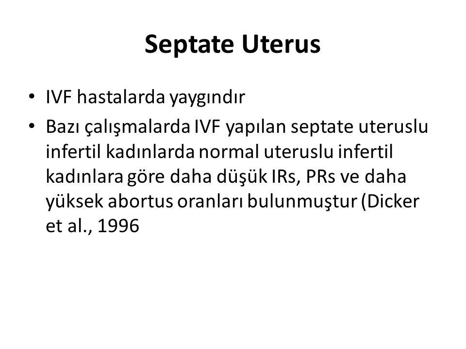 Septate Uterus IVF hastalarda yaygındır Bazı çalışmalarda IVF yapılan septate uteruslu infertil kadınlarda normal uteruslu infertil kadınlara göre daha düşük IRs, PRs ve daha yüksek abortus oranları bulunmuştur (Dicker et al., 1996