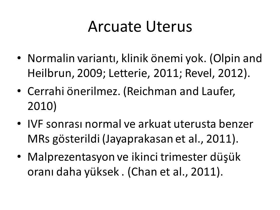 Arcuate Uterus Normalin variantı, klinik önemi yok. (Olpin and Heilbrun, 2009; Letterie, 2011; Revel, 2012). Cerrahi önerilmez. (Reichman and Laufer,