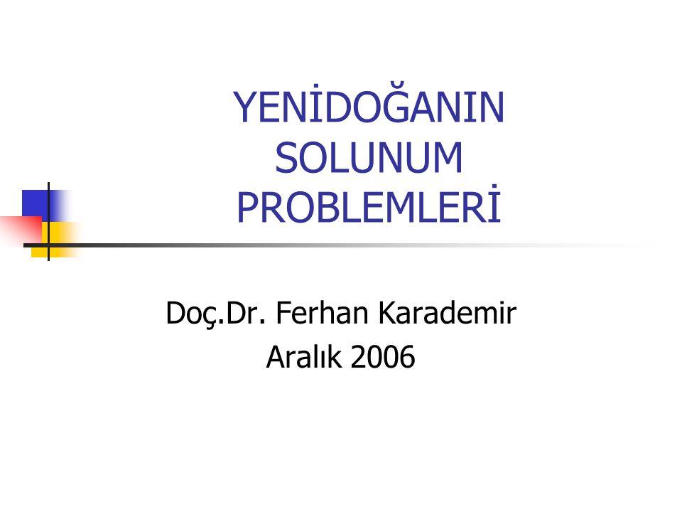 YENİDOĞANIN SOLUNUM PROBLEMLERİ Doç.Dr. Ferhan Karademir Aralık 2006