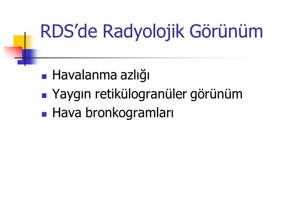 RDS'de Radyolojik Görünüm Havalanma azlığı Yaygın retikülogranüler görünüm Hava bronkogramları