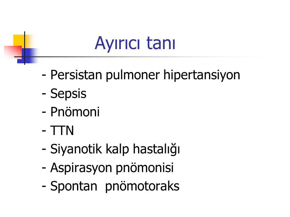 Ayırıcı tanı - Persistan pulmoner hipertansiyon - Sepsis - Pnömoni - TTN - Siyanotik kalp hastalığı - Aspirasyon pnömonisi - Spontan pnömotoraks