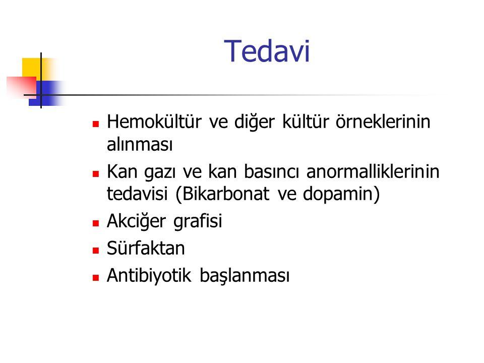 Tedavi Hemokültür ve diğer kültür örneklerinin alınması Kan gazı ve kan basıncı anormalliklerinin tedavisi (Bikarbonat ve dopamin) Akciğer grafisi Sür