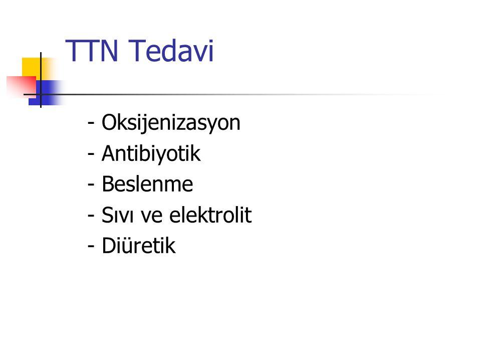 TTN Tedavi - Oksijenizasyon - Antibiyotik - Beslenme - Sıvı ve elektrolit - Diüretik