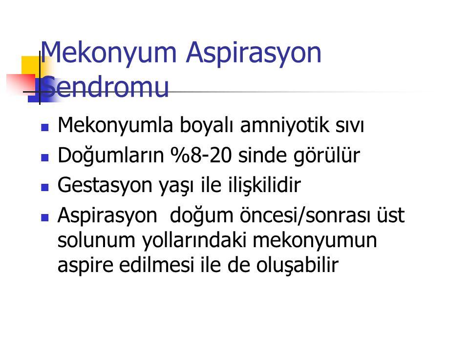 Mekonyum Aspirasyon Sendromu Mekonyumla boyalı amniyotik sıvı Doğumların %8-20 sinde görülür Gestasyon yaşı ile ilişkilidir Aspirasyon doğum öncesi/so