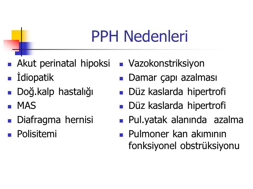 PPH Nedenleri Akut perinatal hipoksi İdiopatik Doğ.kalp hastalığı MAS Diafragma hernisi Polisitemi Vazokonstriksiyon Damar çapı azalması Düz kaslarda