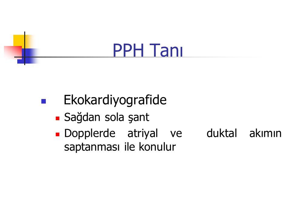 PPH Tanı Ekokardiyografide Sağdan sola şant Dopplerde atriyal ve duktal akımın saptanması ile konulur