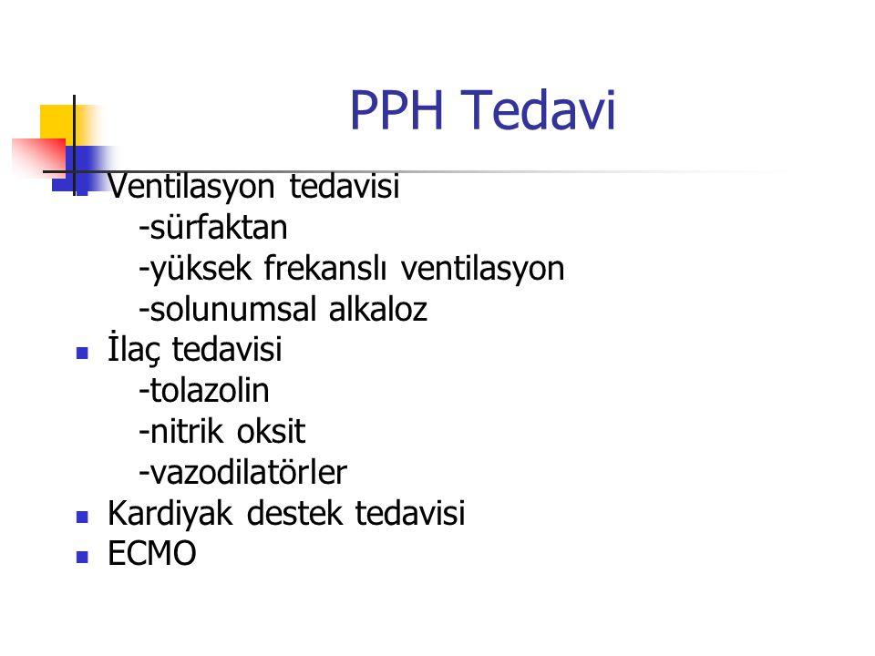PPH Tedavi Ventilasyon tedavisi -sürfaktan -yüksek frekanslı ventilasyon -solunumsal alkaloz İlaç tedavisi -tolazolin -nitrik oksit -vazodilatörler Ka