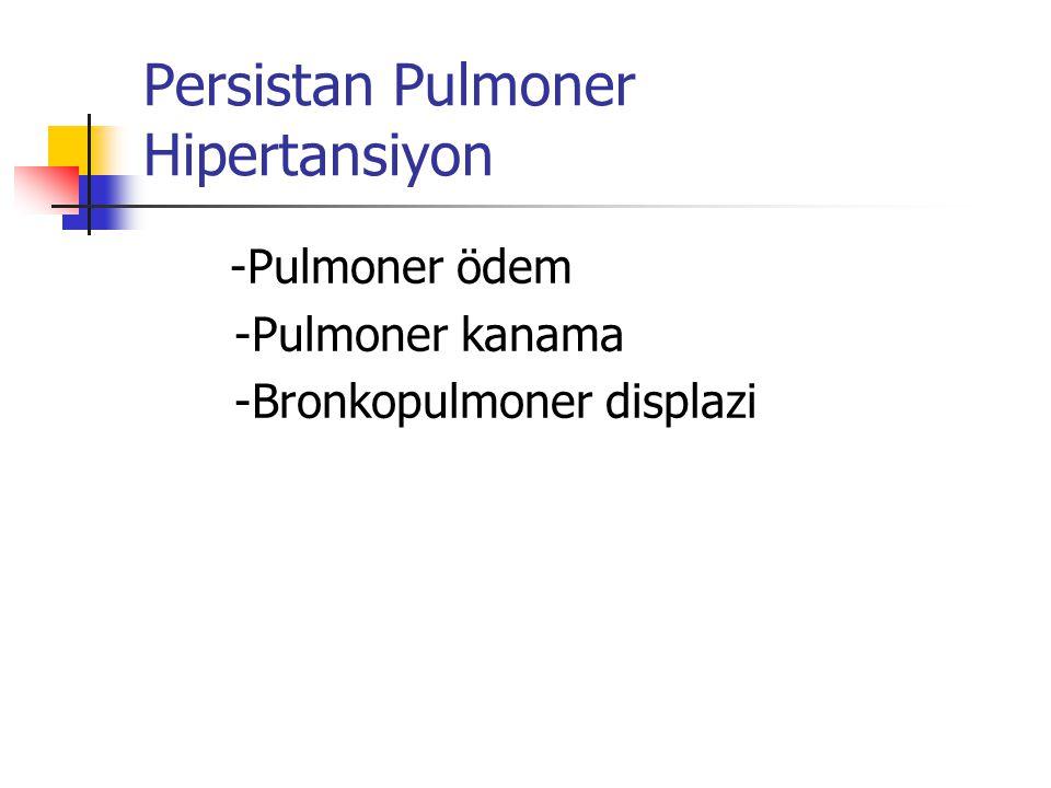 Klinik bulgular Taşipne (solunum sayısı 60/dk.dan fazla) İnlemeli ekspirasyon Çekilmeler ( suprasternal, interkostal) Burun kanadı solunumu Siyanoz Apne KTA 120 den az (ağır RDS) Hipotansiyon Oligüri